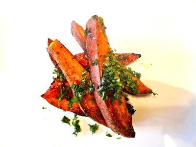 Let's Cook- Garlic Roasted Sweet Potatoes