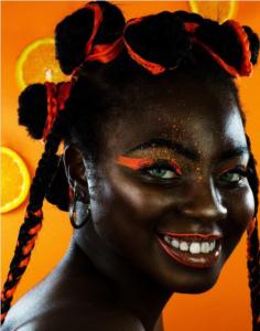 Bantu knots - orange highlights knots