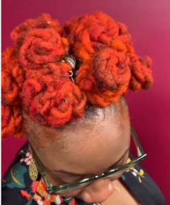 Bantu knots - orange knots