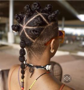 Bantu knots - undercut and knots